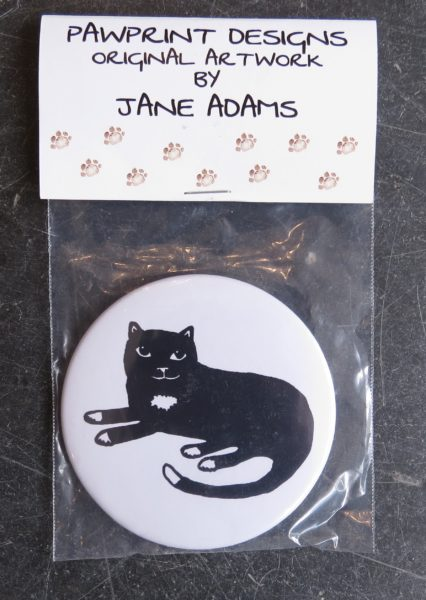 handbag mirror, purse mirror, mirror, small mirror, cat mirror, sitting cat, black and white cat, cat presents, presents for cat lovers, cat gifts, cat illurstrations, jane adams ceramics, pawprint designs, the jane adams gallery, Cornwall