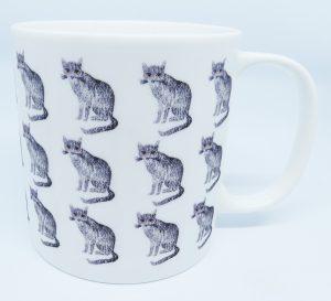 large mug, bone china mug, teatime, cat theme, cat mug, grey cat, jane adams ceramics, cat presents, artwork, pawprint designs