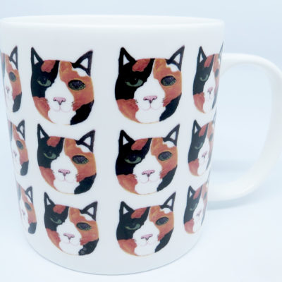 Bone china large mug - tortie cat head wrap design