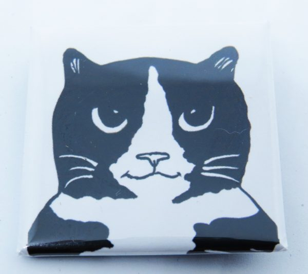 square badge, badge, lapel pin, pin pin badge, cat gifts, cat themed gifts, black and white cats, pawprint designs, the jane adams gallery, jane adams, artwork