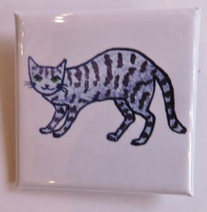 lapel pin, pin badge, lapel pin badge, square badge, cat badge, cat themed products, cat gifts, jane adams, pawprint designs, jane adams gallery, st just, cornwall