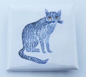 lapel badge, badges, square lapel badge, grey cat, cat products, jane adams ceramics,