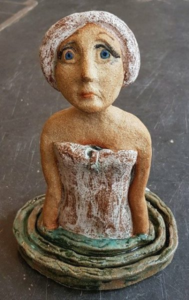 ceramic figure, swimming lady, bather, ceramic figurine, ceramic woman, bather, cornwall, jane adams gallery, jane adams ceramics, stoneware, studio pottery, studio ceramics,