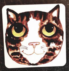 coaster, cat coaster, cat artwork, cat images, cat illustration, pawprint designs, jane adams ceramics, the jane adams gallery, cornwall, st just,