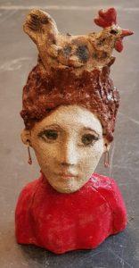 ceramic chicken, ceramic lady, ceramic figurine, pottery figures, pottery figurines, lady with chicken, ginger hair lady, chicken lady, jane adams ceramics, jane adams gallery, lady with earrings, cornwall, handmade stoneware, stoneware, studio ceramics, red jumper, st justs