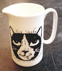 black and white cat, linocut design, linocut, jug, pint jug, white china, jane adams ceramics, pawprint designs, st just, cornwall