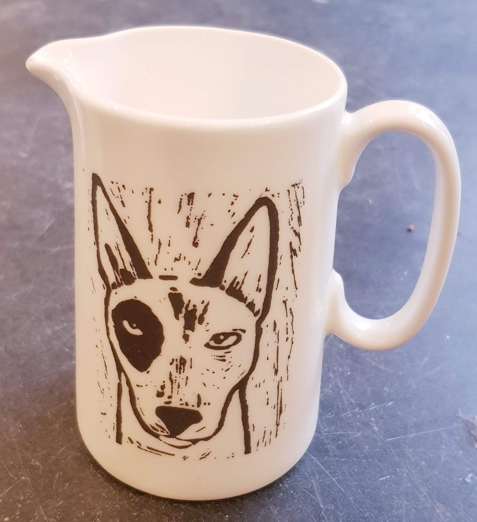 Pint Jug With Linocut English Bull Terrier Design Jane