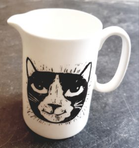 china jug, linocut, pawprint designs, whtie china, black and white cat, cat gifts, present, jane adams ceramics, cornwall, st just