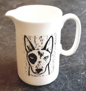 jug, half pint jug, english bull terrier, lino cut, dog presents, dog themed gifts, jane adams ceramics, st just, cornwall, pawprint designs
