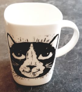 mug, cat design, cat mug, bone china, white china, cat decal, linoprint stsyle