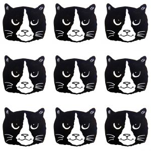CARD, CARDS, BIrthday cards, greetings cards, black and white cats, jane adams cermaics