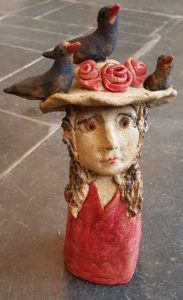 ceramics, handmade studio pottery, figurative ceramics, ceramic people, lady in a hat, people figurines, pottery figurines, choughs, cornwall