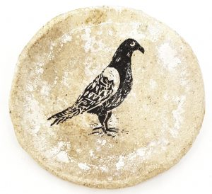 coaster, ceramic coaster, cream glaze, pigeon design, jane adams, handmade ceramics
