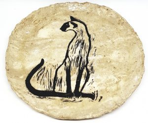 round coaster, cream glaze, ceramic coaster, siamese cat, cat designs, linocut, jane adams ceramics