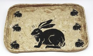 trinket dish, ceramic trinket dish, ceramic tray, ring dish, handmade stoneware, hare theme, hare design, hare pottery, pottery trinket dish, jane adams ceramics