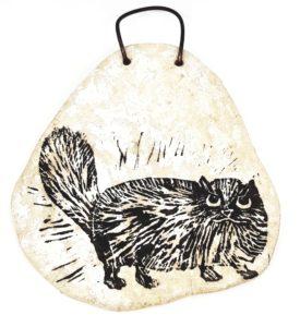 ceramic wall hanging, cat wall hanging, wall hanging, cat plaque, wall plaque, ceramic plaque, persian cat, linocut, pawrint designs, jane adams ceramics