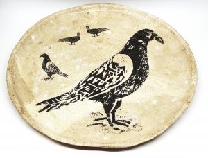 handmade plate, stoneware plate, bowl dish, cream glaze, studio pottery plate, pigeon, jane adams ceramics