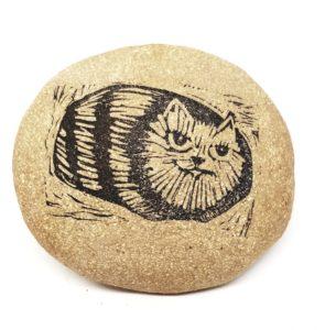 clay pebble, pebble, paperweight, pebble paperweight, linocut, cat design