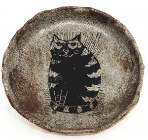 trinket dish, ring dish, stoneware, ceramic, handmade ring dish, jane adams ceramics, stripey cat, cat themed