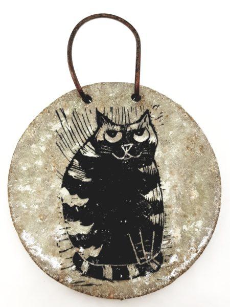 wall hanging, ceramic wall hanging, ceramic plaque, wall plaque, cat design, linocut. stripey cat, cat gift, pottery cats, ceramic cats, jane adams ceramics, pawprint designs, cornwall