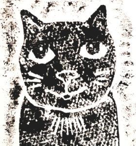 card, cards, greetings cards, birthday card, cat, black cat, linocut,