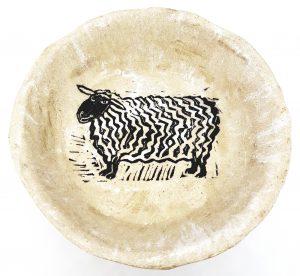 bowl, stoneware bowl, cream glaze, sheep design, handmade stoneware, pottery bowl, linocut, original design, jane adams ceramics, cornwall, st just