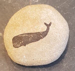paperweight, clay pebble, handmade, stoneware, whale themed, whale, linocut, jane adams