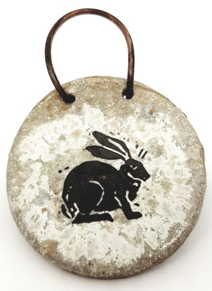 wall hanging, grey, hare design, pawprint designs, linocut, , rabbit, hare pttery, wall plaque, cornwall
