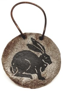 wall hanging, wall plaque, ceramic plaque, hare design, hare themed, ceramic, studio pottery, jane adams ceramics, ceramics and print