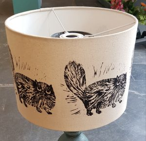 lampshade, handmade lampshades, table lamp shades, printed shades, persian cat theme, cat lampshade, jane adams , linocut