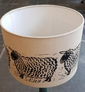 table lamp shade, shade, lampshade, lampshades, handmade lampshades, handmade shades, linocut, sheep design, jane adams, fabric lampshades