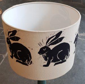 handmade lampshades, lampshade, printed lampshade, designer lampshade, handmade, shades, table lamp, linocut, hare desig, hare prints, jane adams