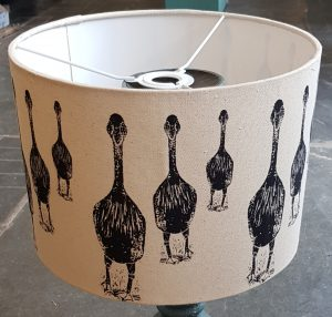handmade lampshade, lampshade, lampshades, designer lampshades, fabric lampshade, printed lampshade, ceiling shade, linocut, geese design, goose, jane adams