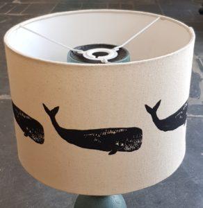 lampshade, hanging lampshade, handmade lampshade, designer lampshade, fabric lampshade, whale design, whales, linocut, jane adams