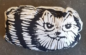 lavender bag, lino cut, cat themed, black and white cat, ct themed, lavender,