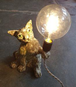 lighting,lampbase, vintage lighting, handmade cat light, jane adams ceramics