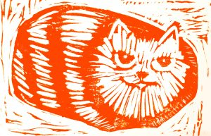card. cards. greetings cards, tabby cat, ginger cat, linocut