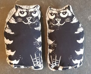 lavender bags, stripey cat, linocut designs, cat presents. cat themed, jane adams