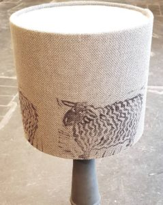 handmade lampshade, handprinted textiles, lampshade, drum lampshade,, sheep print, printed textiles, lino cut, interiors, interior decorating, lighting, design